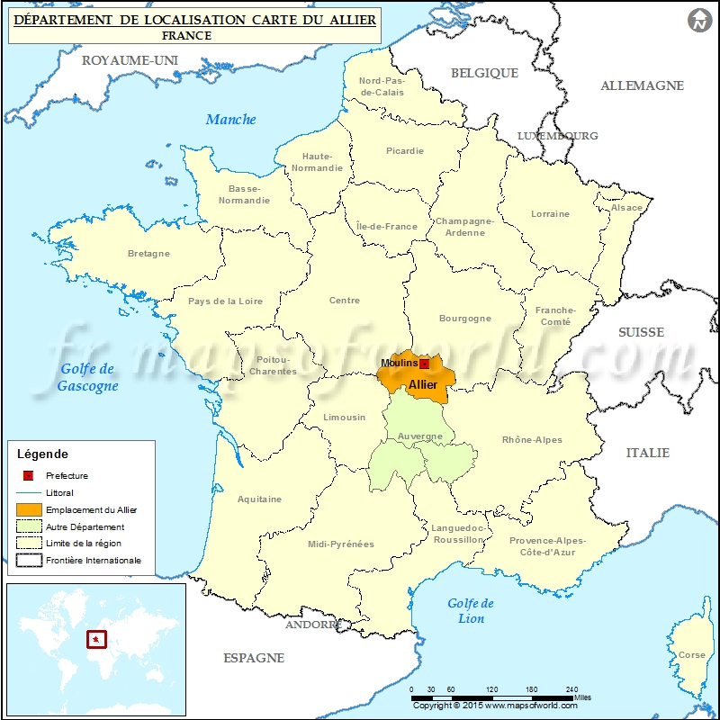 Location On World Map Of Paris France