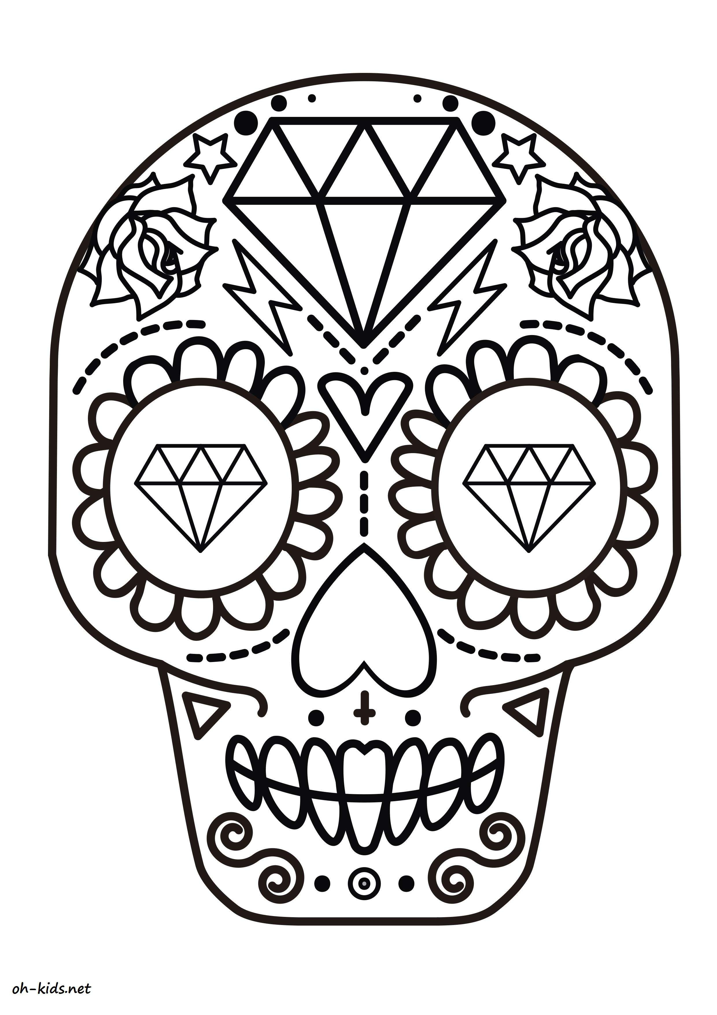 Calavera Day Of Dead Coloring Coloring Pages