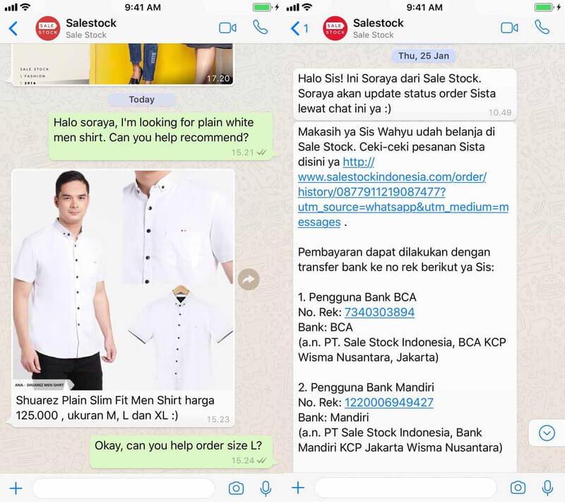 WhatsApp for Business - exemple Sorabel