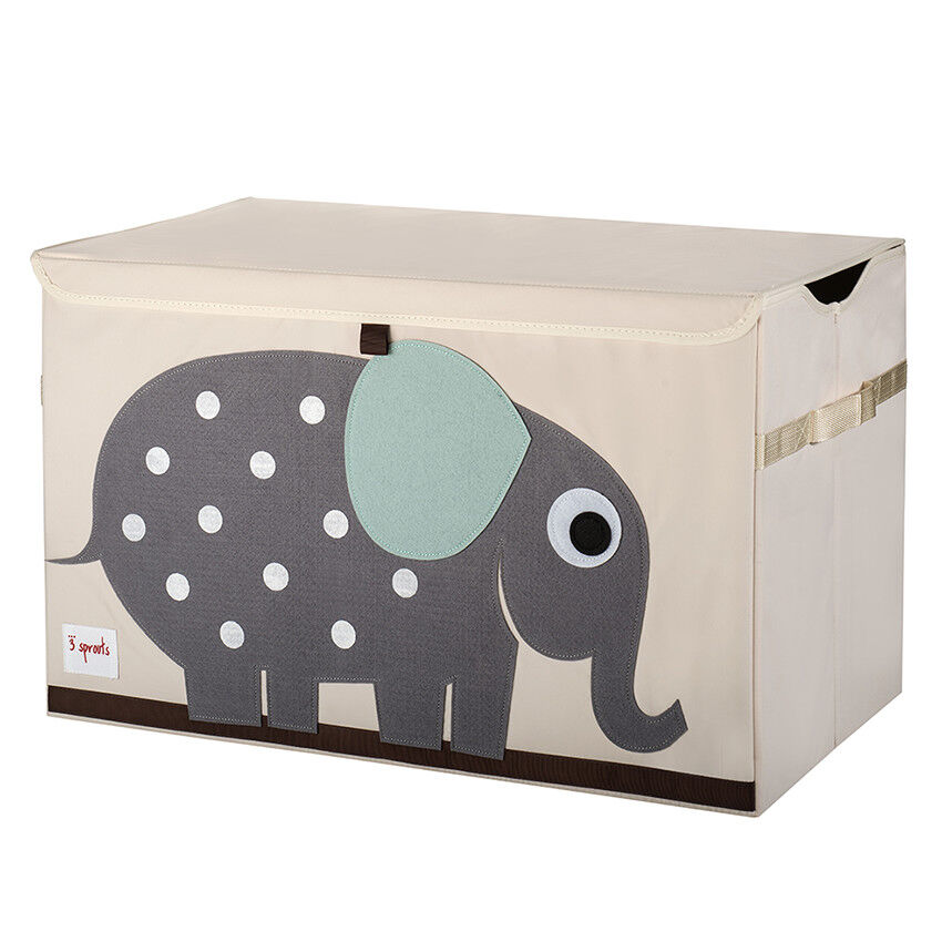 coffre a jouets elephant beige gris