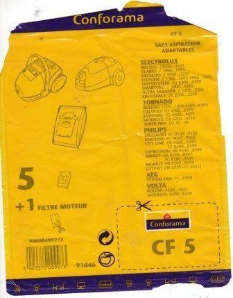conforama cf 5 sac aspirateurs filtre moteur