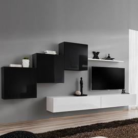 meuble tv suspendu noir et blanc duccio 2