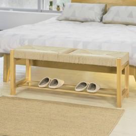 sobuy fsr68 n banc a chaussures design banquette meuble d entree 2 places avec 1 etage de rangement siege en corde tressee l110cmxp36cmxh46cm