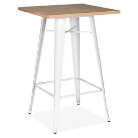 table haute style industriel darius en bois clair et pieds en metal blanc