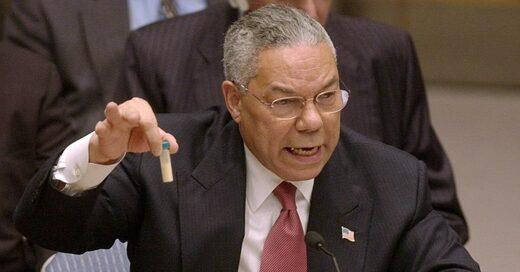 Colin Powell présente un flacon d'anthrax à l'ONU