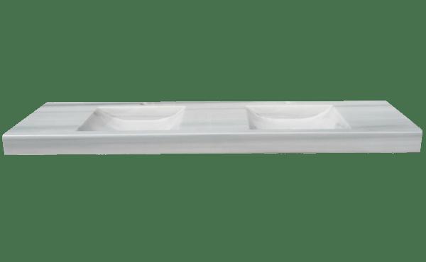 Lavabo de mármol modelo AM300 en color blanco macael