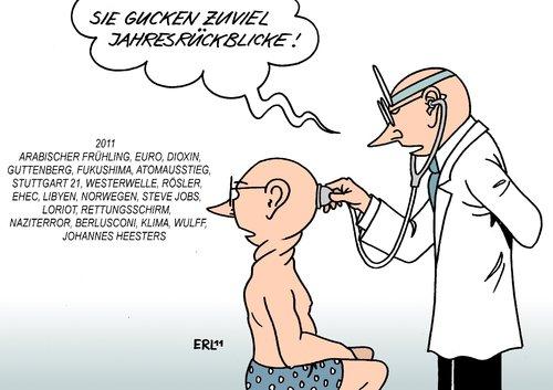 Cartoon: Jahresrückblicke (medium) by Erl tagged medien,ereignisse,katastrophen,politik,neujahr,silvester,2012,2011,jahreswechsel,fernsehen,jahresrückbklicke,jahresrückblick,arzt