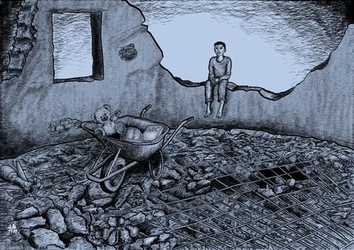 Cartoon: Collateral damage (medium) by A Tale tagged buch,spielzeug,ruine,obdachlos,zivilbevoelkerung,zukunft,kind,schaeden,gewalt,frieden,opfer,krieg,kollateralschaeden