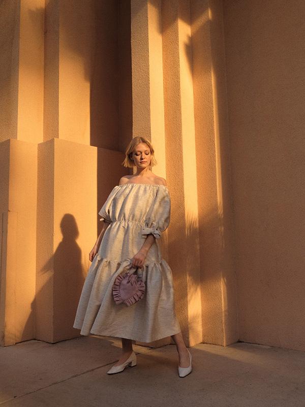 Robe Eliza Faulkner portée par Joëlle Paquette dans le cadre du salon MAGIC à Las Vegas.