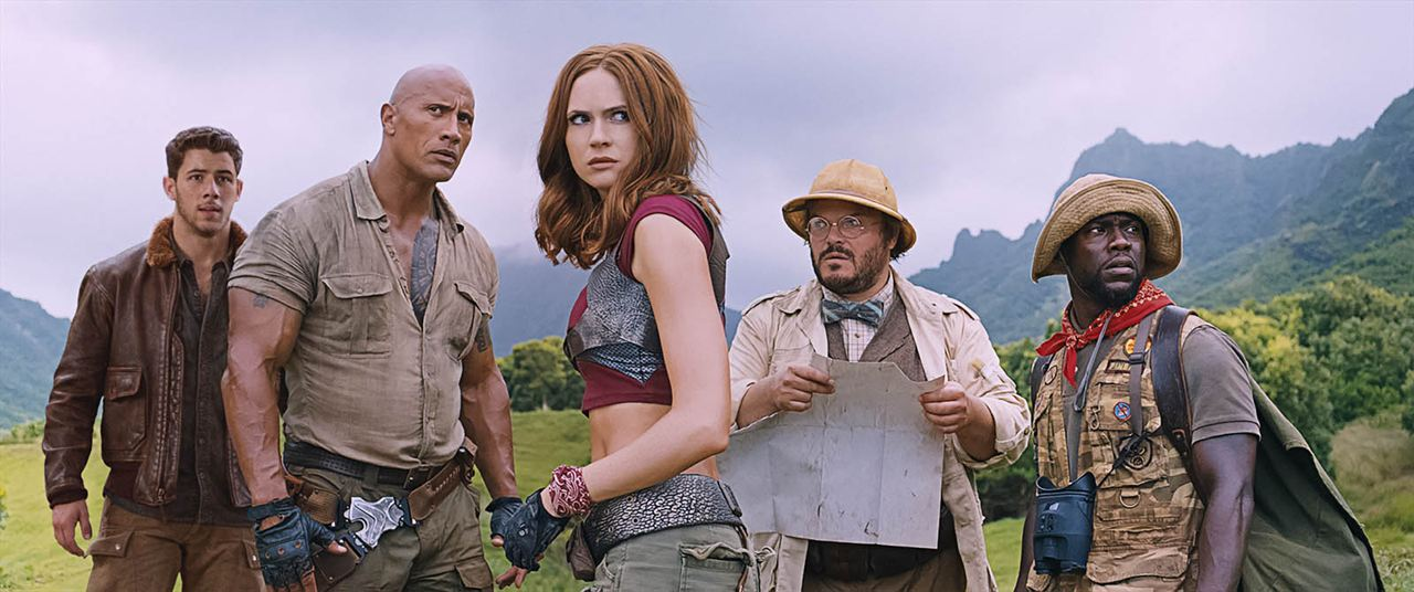 Jumanji : Bienvenue dans la jungle : Photo Dwayne Johnson, Jack Black, Karen Gillan, Kevin Hart, Nick Jonas