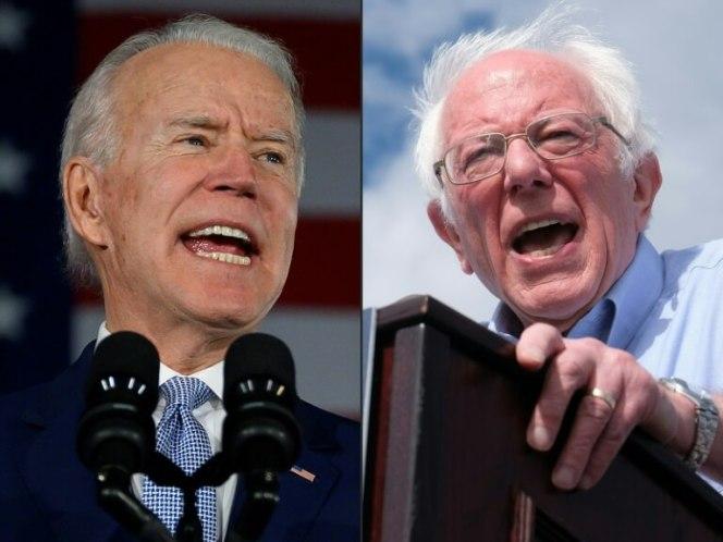 Joe Biden (gauche) et Bernie Sanders (droite)