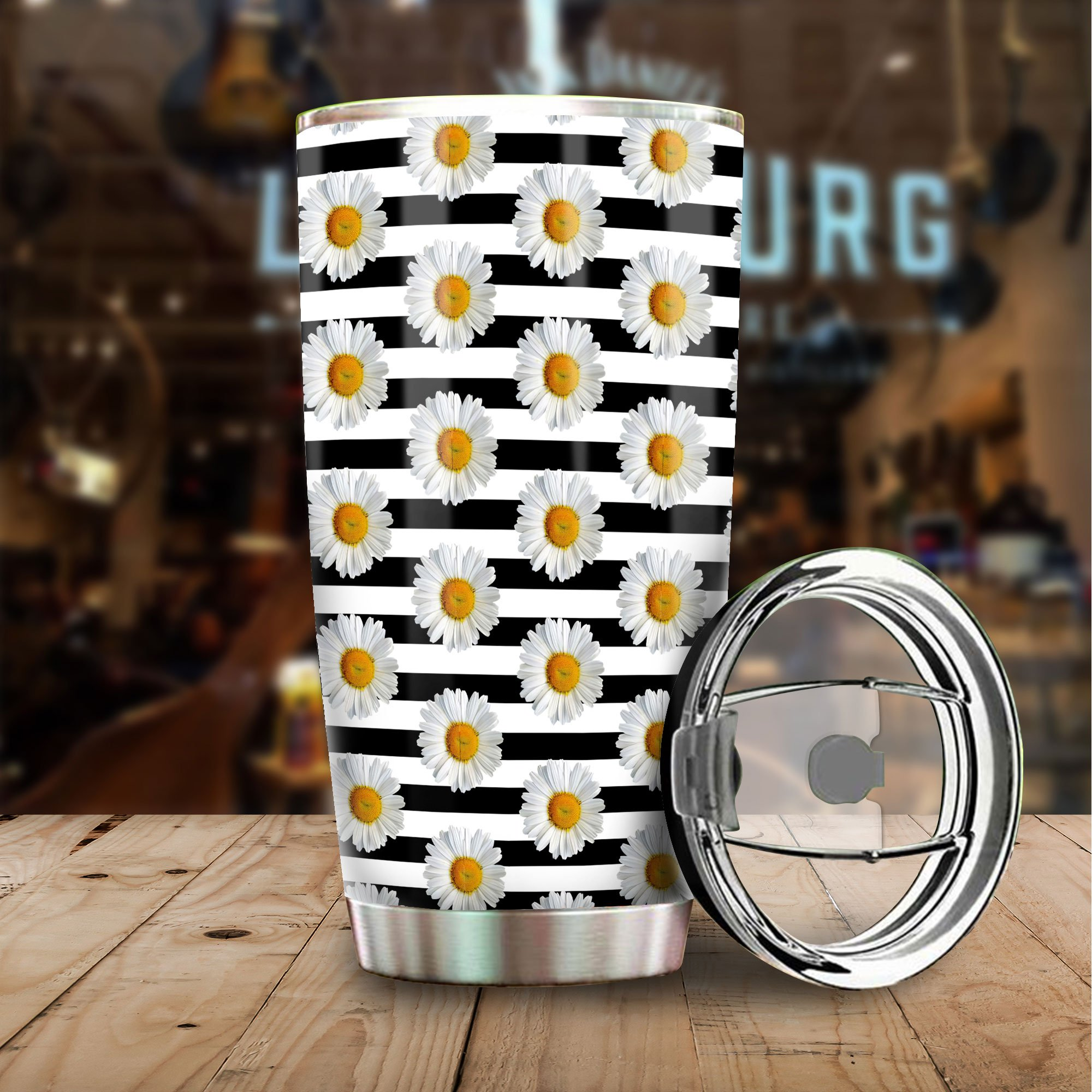 89fashion Sunflower Line Tumbler Stainless Steel Custom Black And White Pattern Size 20 Oz Coffee Tumbler