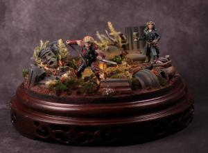 Painting and diorama by Meg Maples, miniatures sculpted by Bobby Jackson based on illustrations by Eric Belisle