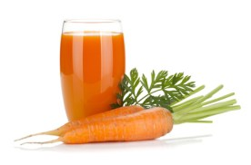 Fresh carrot juice. Isolated on white backgroundCarrot Juice