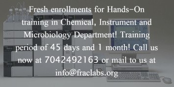 Training program schedule for food and beverage testing, hands on industrial experience in instruments like HPLC, LCMS, GCMS