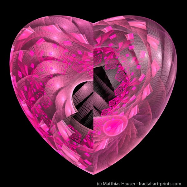 Pink Fractal Heart Art Prints