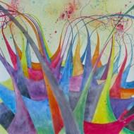 """Colourfest. 20x20"""". Watercolour on Gessoed Paper. Lianne Todd $625.00, framed."""