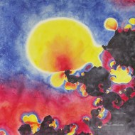 "Turbulence & Bubbles.Watercolour on Gessoed Paper.20x20"".$625.00, framed. Lianne Todd"