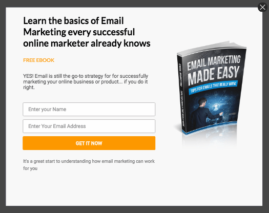 pop up subscriber form - Email Marketing Free Ebook
