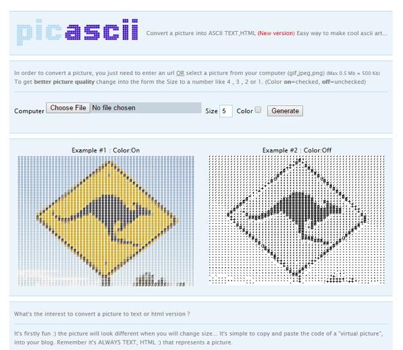 Figure 2: Online app PicASCII