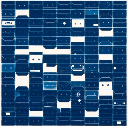 Large Cassette Grid No.9, 2009, cyanotype