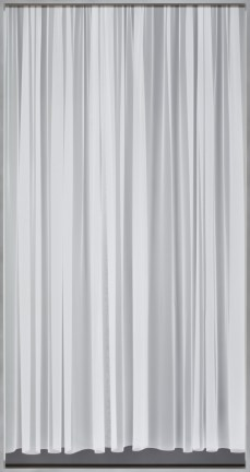 Black-and-white photographic negative of a closed sheer curtain