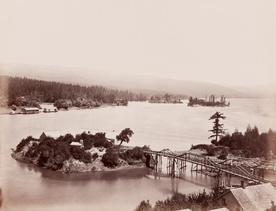 Albumen photograph of a small island with houses, trees and a bridge connecting it to the mainland
