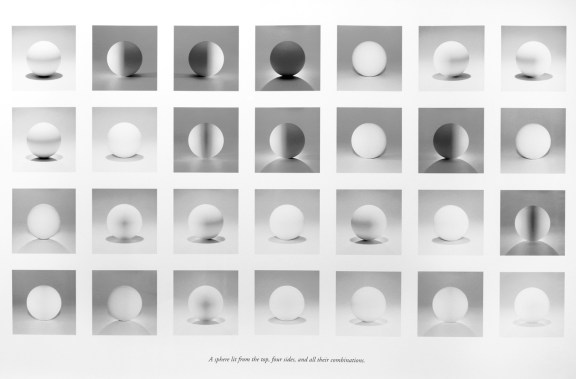 Grid of framed square black-and-white prints of a white sphere lit from different angles