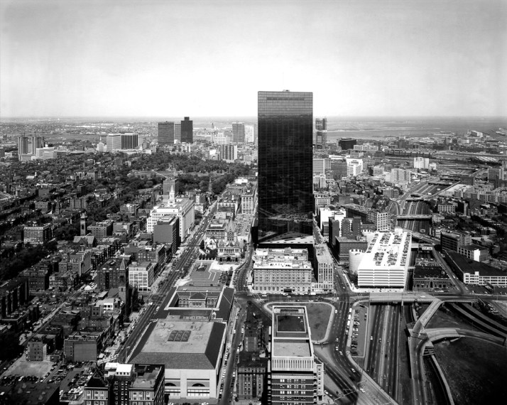 View north from the Prudential Building, Boston, 1975, gelatin-silver contact print