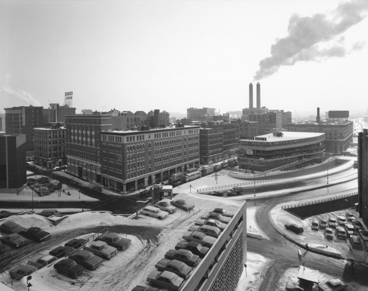 View of Turnpike Entrance, Boston, 1976, gelatin-silver contact print