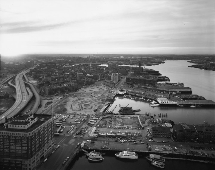 View of North End and Wharf Area, Boston, 1975, gelatin-silver contact print