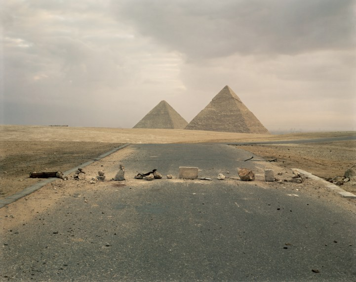 Road Blockade and Pyramids , 1989, pigment print