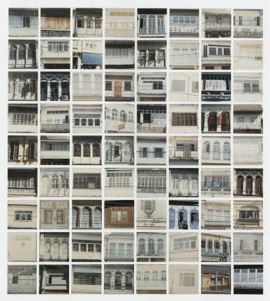 Grid of square color photographs of various windows on building façades