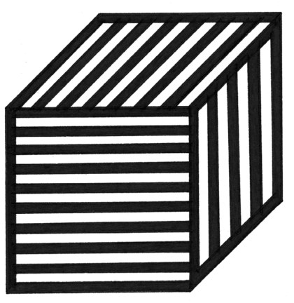 Black outline of a cube with lines running in three directions in each section