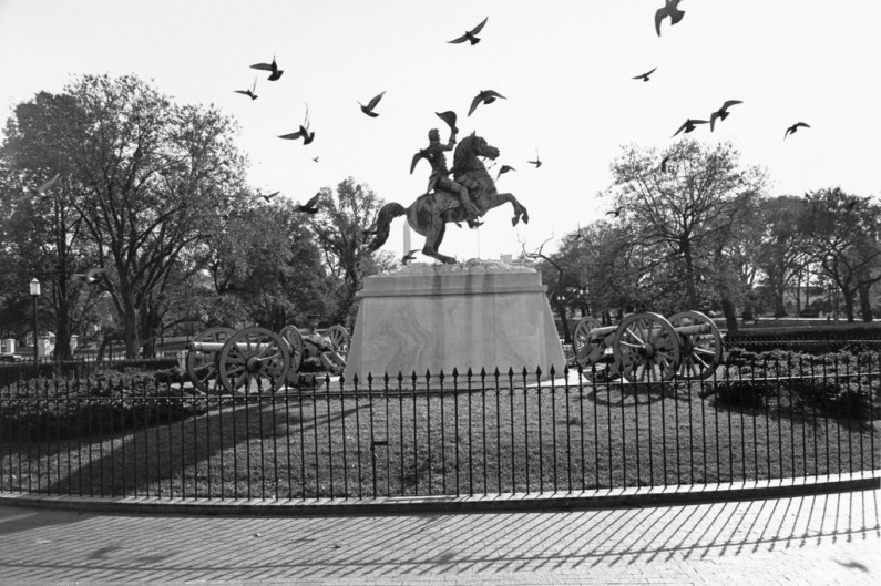 Black and white photograph of a monument of a man on a horse with birds flying in the sky
