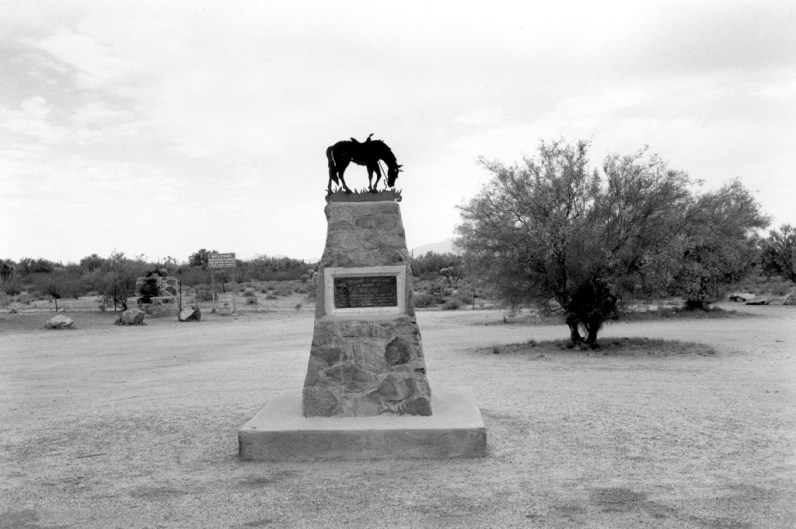 Black and white photograph of monument in an open field with trees in the background