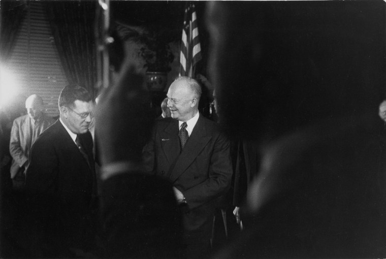 Dwight Eisenhower-Richard Nixon Press Conference, ca. 1955, gelatin-silver