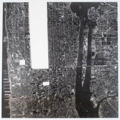 Part of Manhattan with Central Park, Rockefeller Center and Lincoln Center Removed, 1978, gelatin-silver print with three sections removed