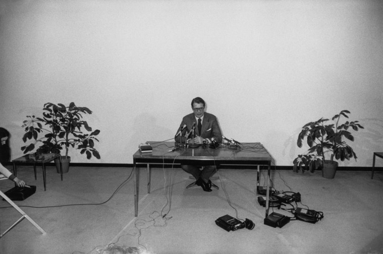 Elliot Richardson Press Conference, Austin, TX, 1973, gelatin-silver print