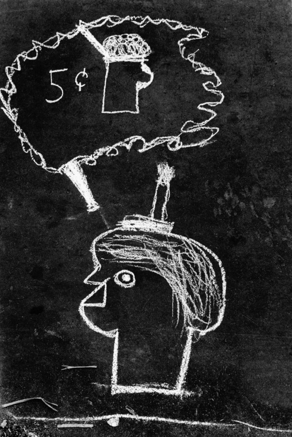 Black and white photograph of a chalk drawing of a person with a thought bubble containing a drink labeled 5¢