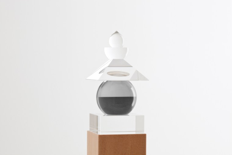 Five Elements, 2011,  Baltic Sea, Rugen, 1996, optically clear glass, black and white film, housed in a wooden box