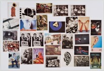A mosaic grid of color and black-and-white images of various things including ears, music players, and instruments