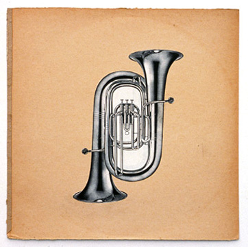 Two cut-out pictures of tubas overlaid in opposite directions on a tan background