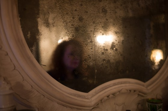 In the mirror at Alberto's Pallazzo, Venice, Italy, October 2013