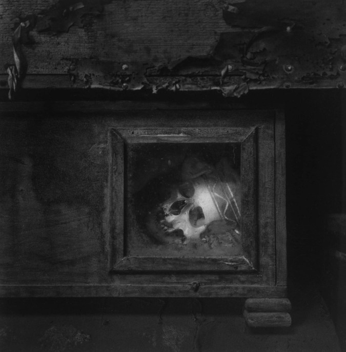 Black-and-white photograph of a human skull peering out of a glass-fronted wooden box