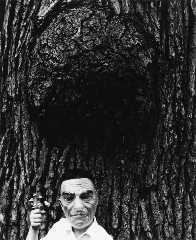 Black-and-white photograph of a boy in a mask standing under a gall of a tree
