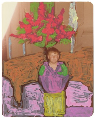 Untitled (Boy with tree), 2014, acrylic on found photograph