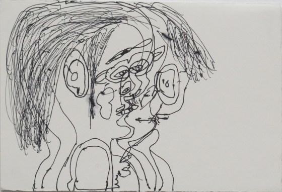 Untitled (Profile), 1997, ink on paper