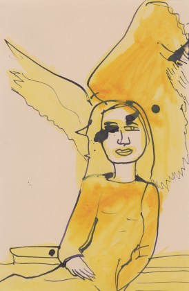 Untitled (Yellow woman with wings), 2015, ink and watercolor on paper