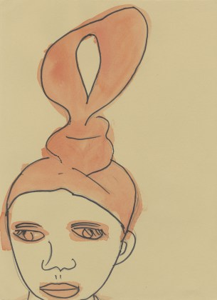 Untitled (Woman with loop hairdo), 2012, ink and watercolor on paper